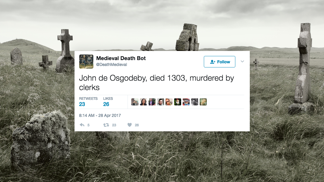 This Medieval Death Bot Shares the Odd Ways People Used to Die