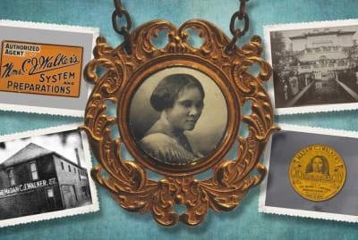 Photo Illustration by Lucy Quintanilla. Badge: Gift of Dr. Patricia Heaston; Tin: Gift from Dawn Simon Spears and Alvin Spears, Sr.; Sign, Photograph of Walker Agents: Gift of A'Lelia Bundles / Madam Walker Family Archives. All from the Collection of the Smithsonian National Museum of African American History and Culture. Background/photo border, iStock