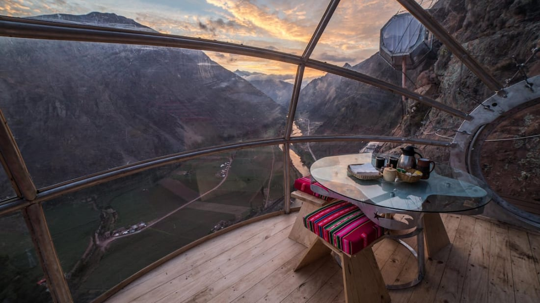 Interior of Skylodge suite in Peru.