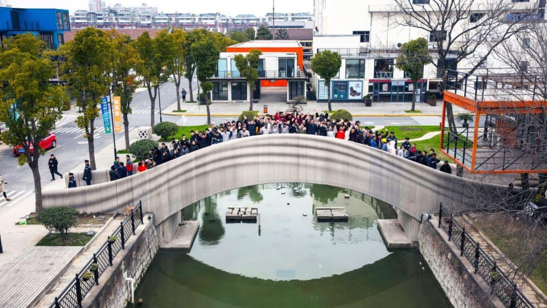 World's largest 3D-printed bridge in Shanghai, China.