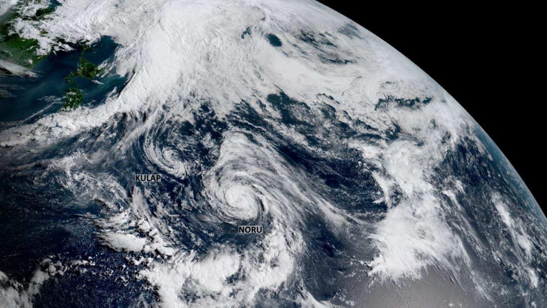 Two tropical cyclones orbiting around each other in the northwestern Pacific Ocean on July 25, 2017.