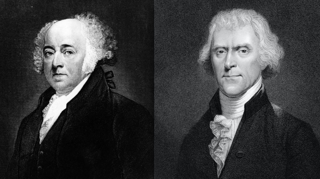 John Adams: Hulton Archive/Stringer/Getty Images. Thomas Jefferson: Print Collector/Getty Images