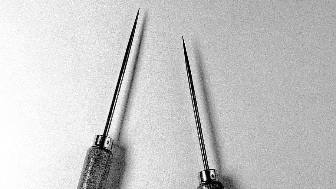 A pair of Watts-Freeman lobotomy instruments circa 1950