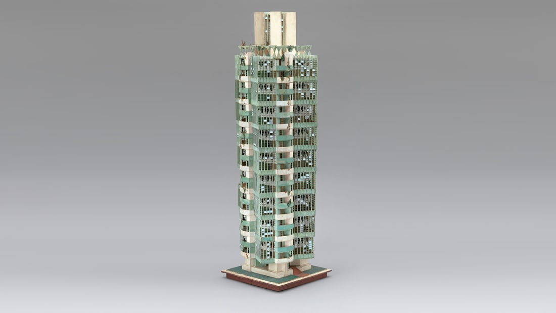 Frank Lloyd Wright (American, 1867–1959). Model of St. Mark's Tower. Unbuilt project. New York, New York. 1927-31. Painted wood. 53 x 16 x 16″ (134.6 x 40.6 x 40.6 cm)