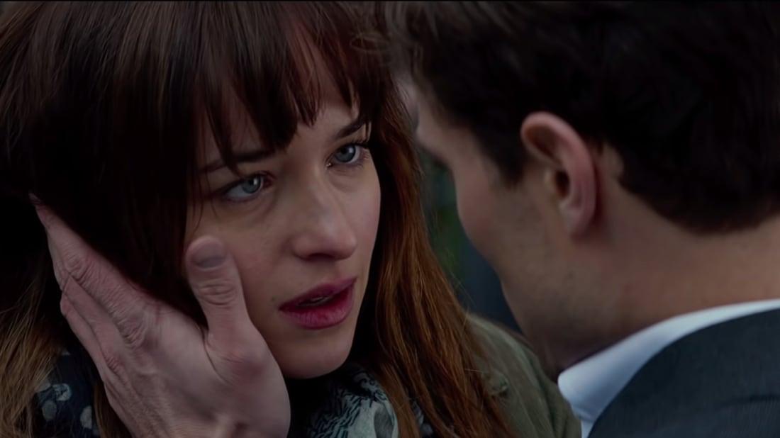Dakota Johnson and Jamie Dornan in Fifty Shades of Grey (2015).
