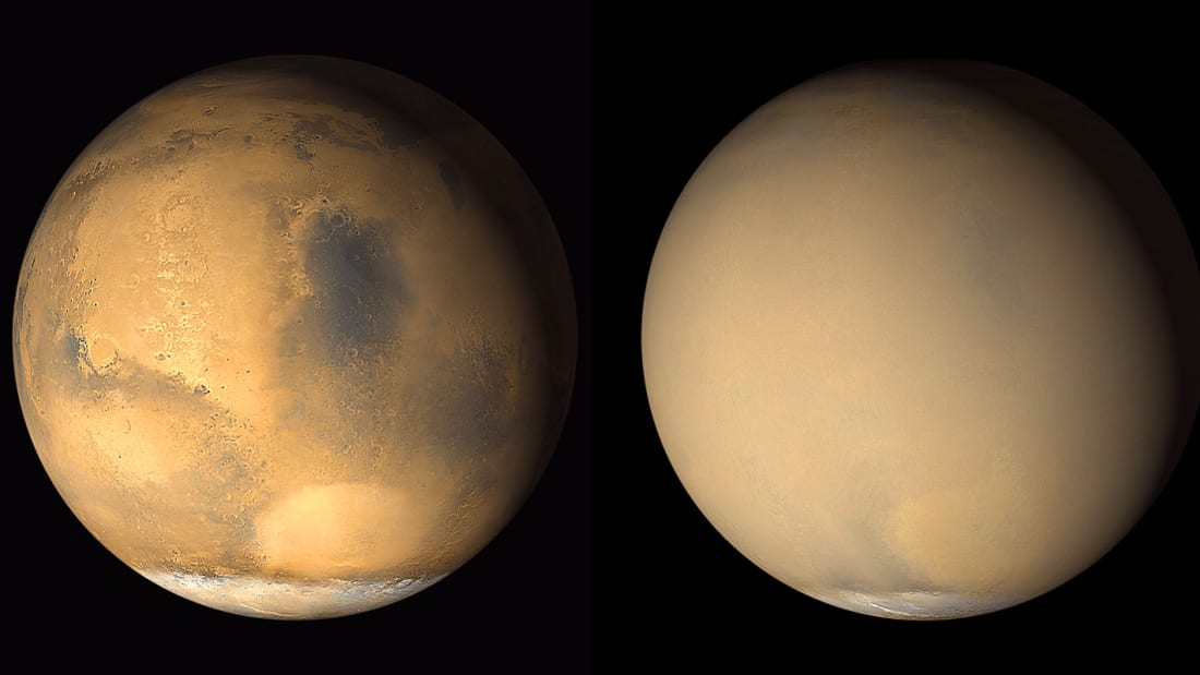 Mars's dust storms can be global. In these images taken a month apart in 2001, the dust storm near the southern polar ice cap (left) soon enveloped the entire planet (right).