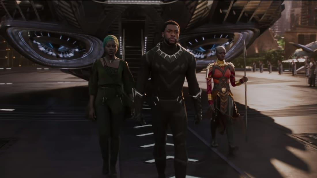 Lupita Nyong'o, Chadwick Boseman, and Danai Gurira in Black Panther (2018).