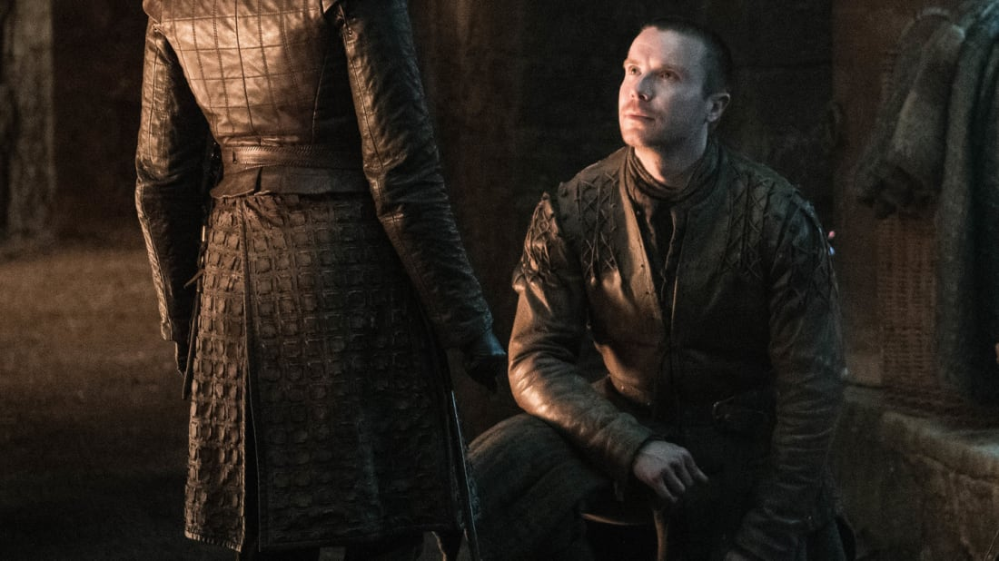 "Gendry proposes to Arya in Game of Thrones's ""The Last of the Starks."""
