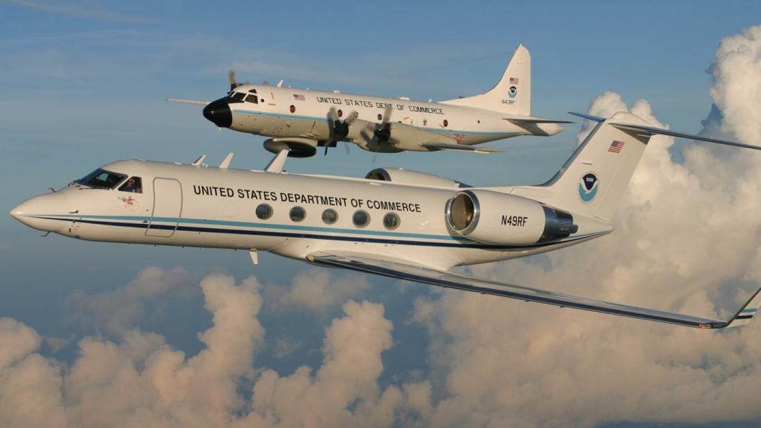 NOAA's WP-3D Orion (top) and Gulfstream IV-SP (bottom)