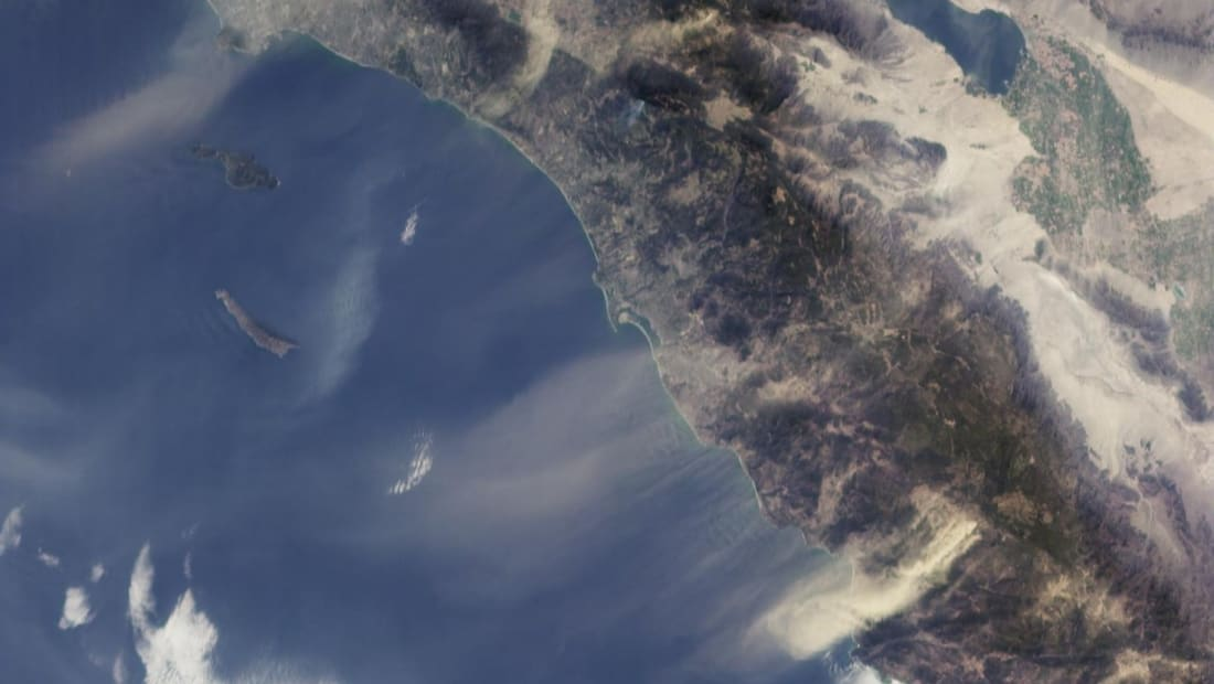 Satellite image of Santa Ana winds in Southern California.