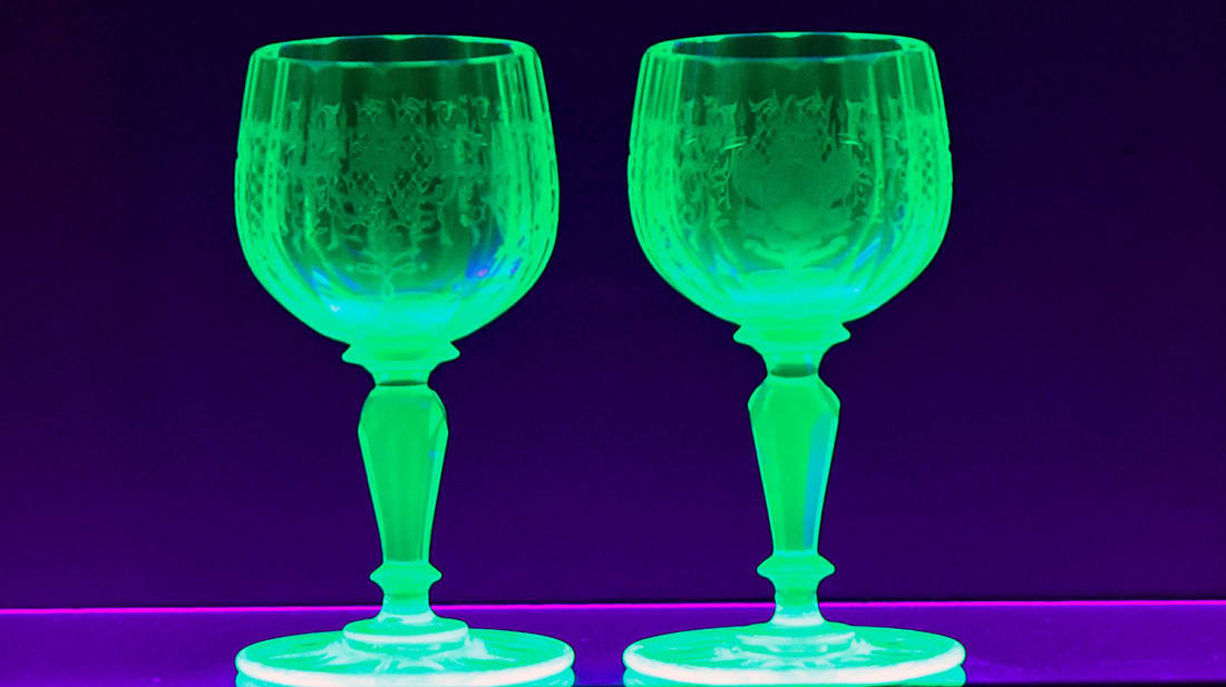 Uranium glass vessels.
