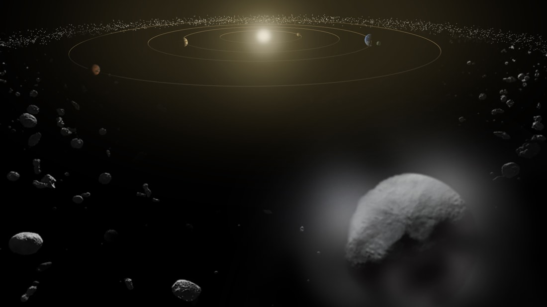 An artist's conception of the dwarf planet Ceres in the main asteroid belt.