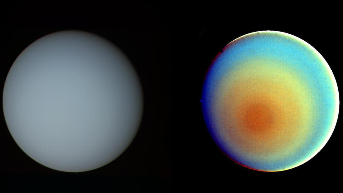 Uranus as seen by the human eye (left) and with colored filters (right).