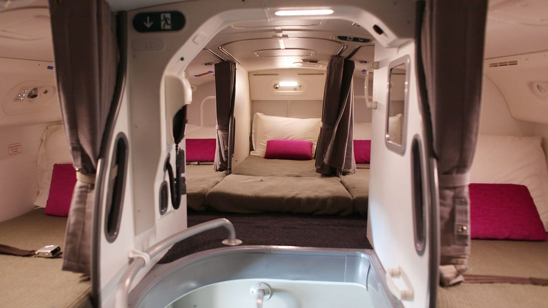 Sleeping quarters on the Boeing 787 Dreamliner.