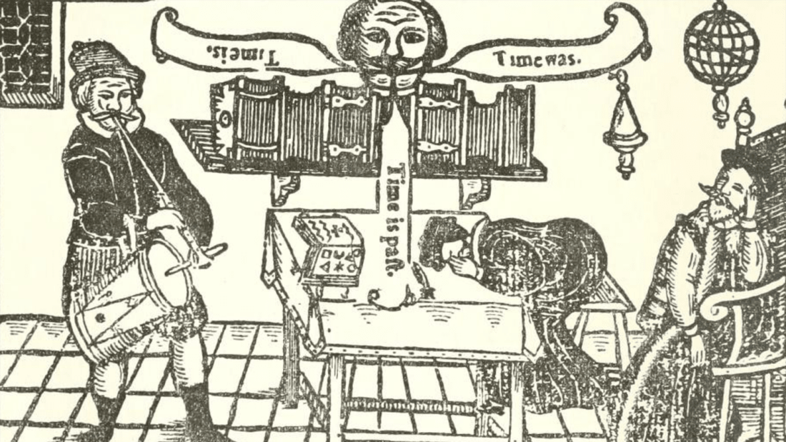 A woodblock illustration from Friar Bacon and Friar Bungay