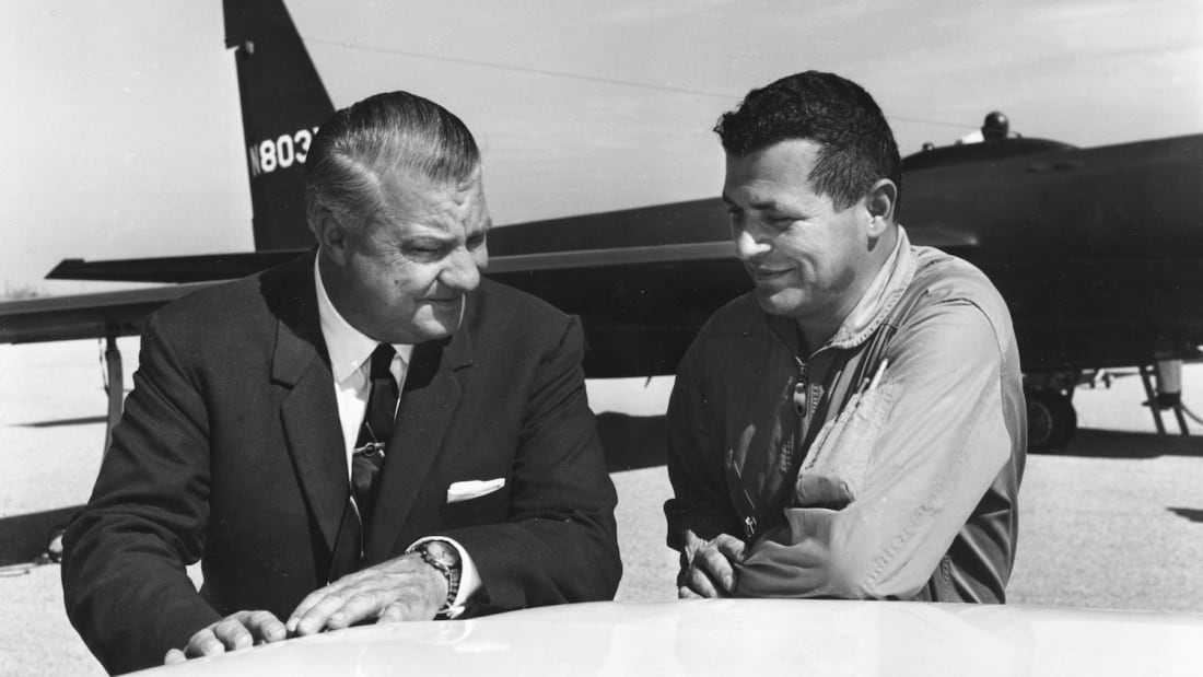 U-2 designer Kelly Johnson with Francis Gary Powers (left to right).