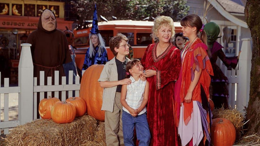 Debbie Reynolds, Kimberly J. Brown, Emily Roeske, and Joey Zimmerman in Halloweentown (1998).