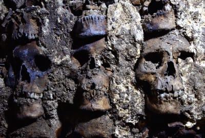 A portion of the skull wall at Huei Tzompantli.