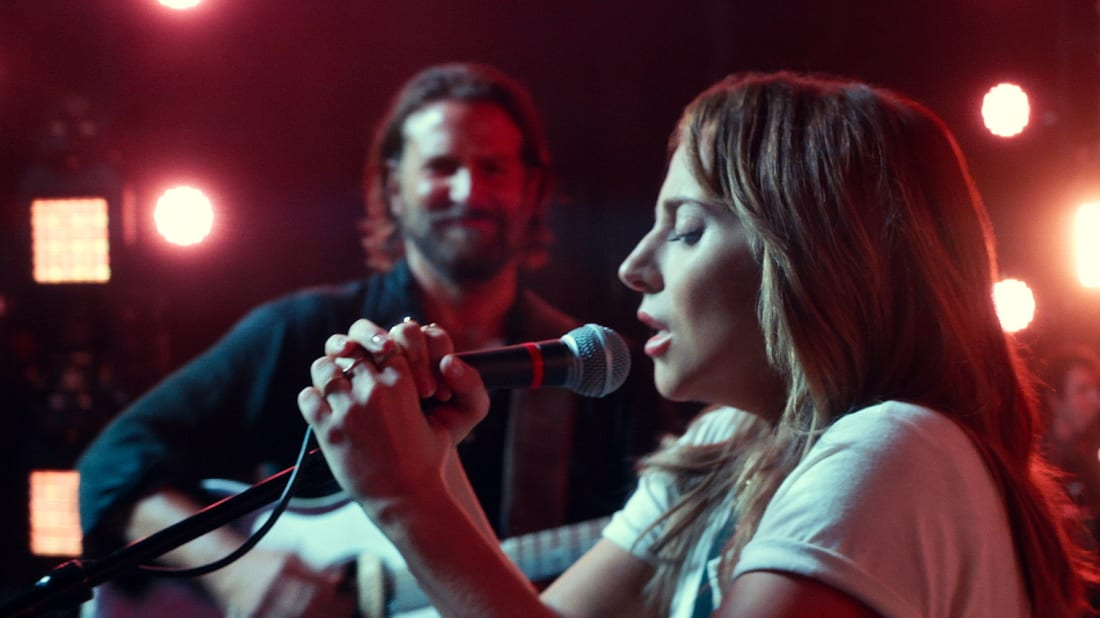 Lady Gaga and Bradley Cooper in A Star Is Born (2018).