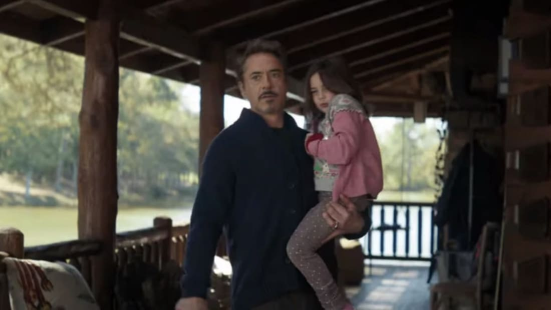 Robert Downey Jr. and Lexi Rabe in Avengers: Endgame (2019)