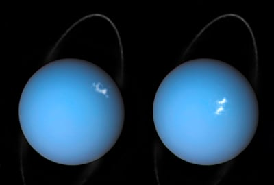 A composite image of Uranus by Voyager 2 and two different observations made by the Hubble Space Telescope
