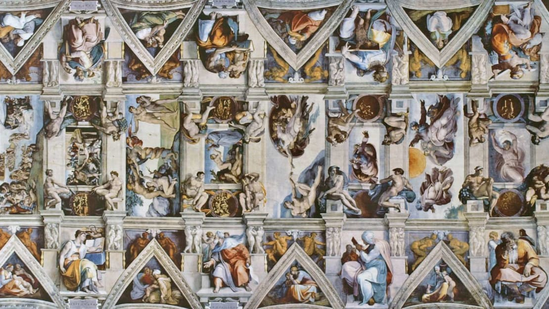 The ceiling of the Sistine Chapel, which Michelangelo absolutely hated painting.