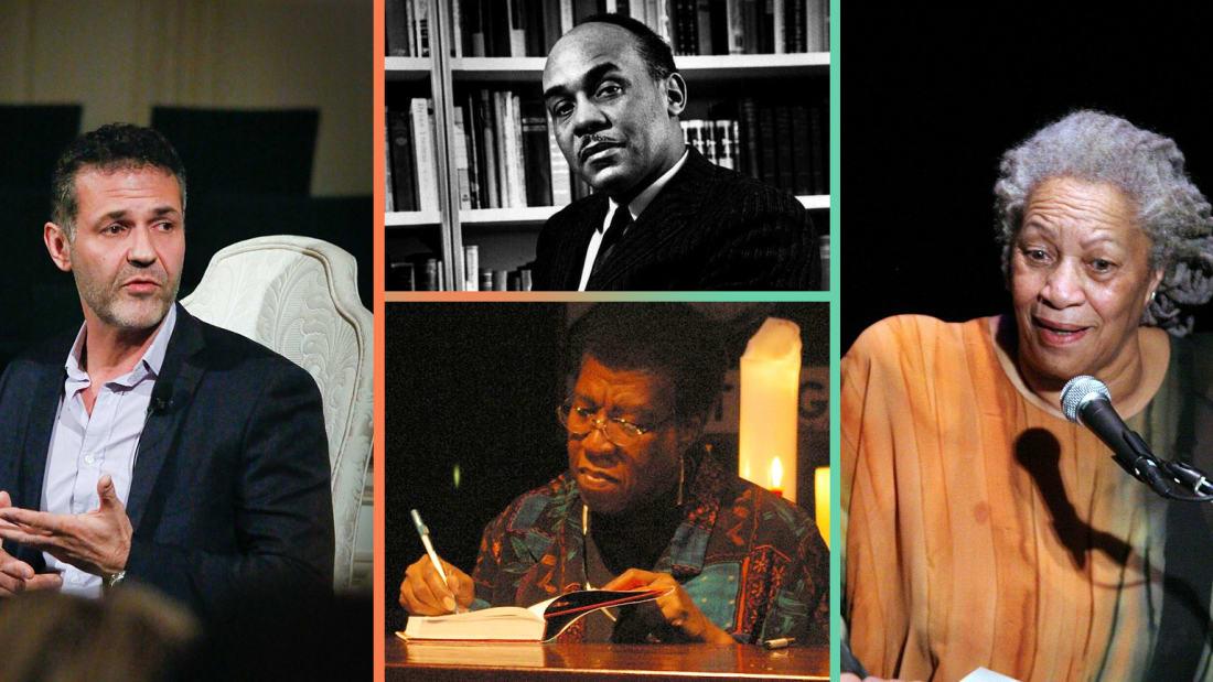 Authors Khaled Hosseini (left), Ralph Ellison (top center), Octavia E. Butler (bottom center), and Toni Morrison (right).