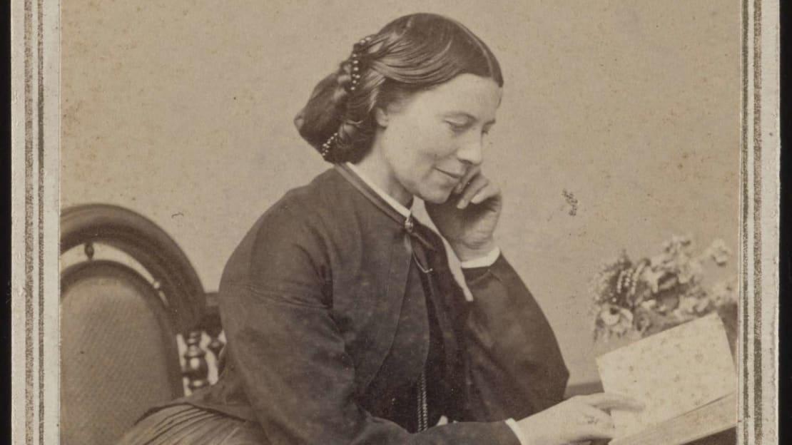 Clara Barton photographed by Charles R. B. Claflin in 1865.