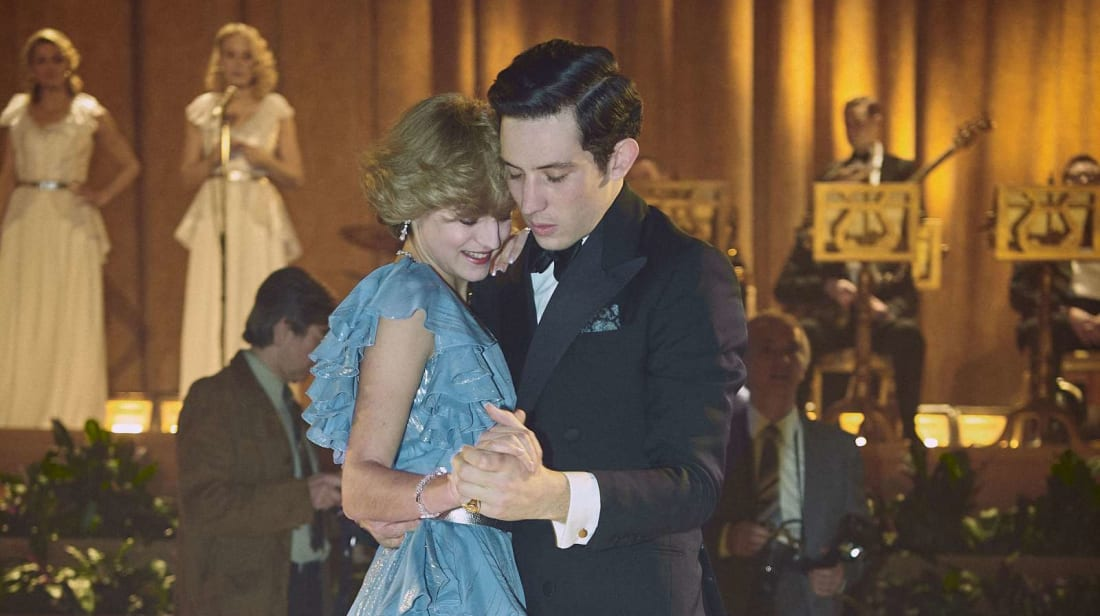Emma Corrin as Princess Diana and Josh O'Connor as Prince Charles in season 4 of The Crown.