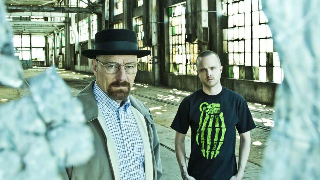 Bryan Cranston and Aaron Paul star as Breaking Bad's Walter White and Jesse Pinkman.