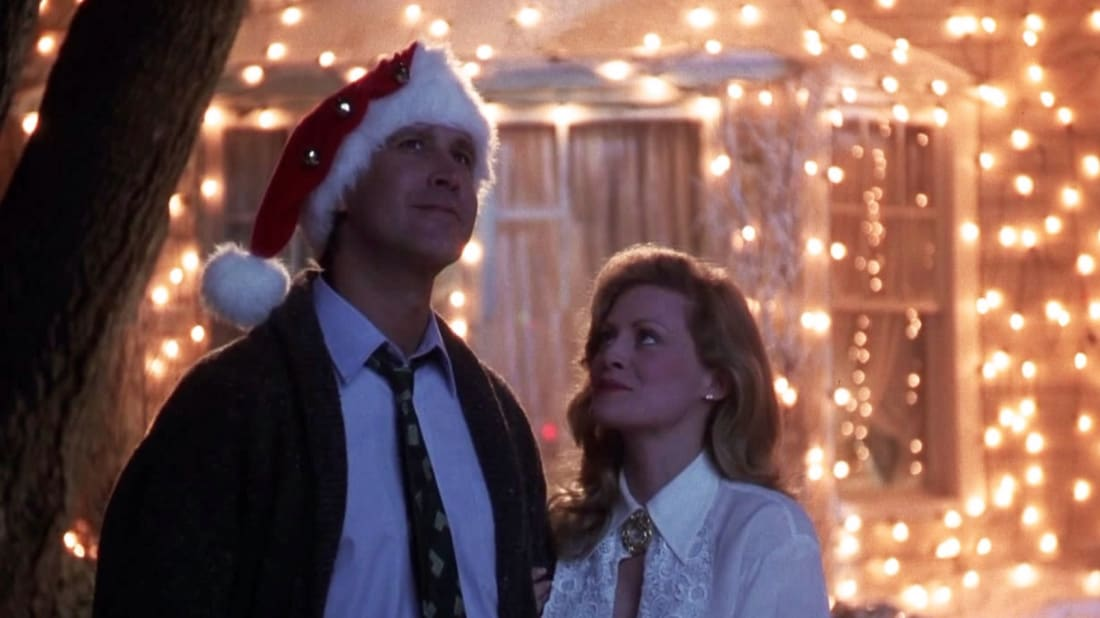 Chevy Chase and Beverly D'Angelo light up the neighborhood in National Lampoon's Christmas Vacation (1989).