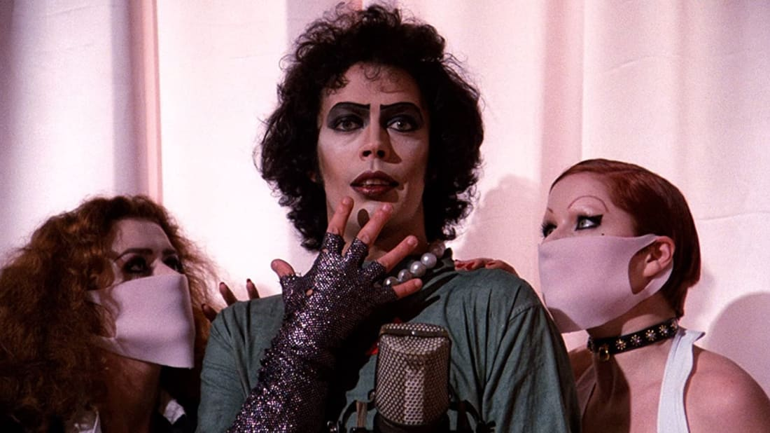 Tim Curry, Nell Campbell, and Patricia Quinn in The Rocky Horror Picture Show (1975).
