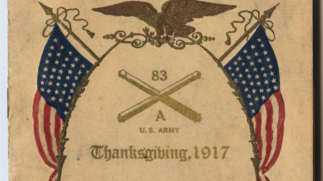 Thanksgiving Day menu from November 1917 at Fort D. A. Russell in Cheyenne, Wyoming.