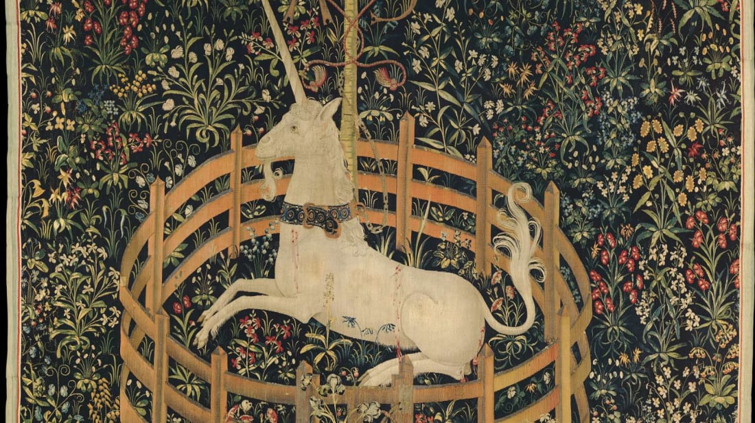 One of the scenes from the famous Unicorn Tapestries.