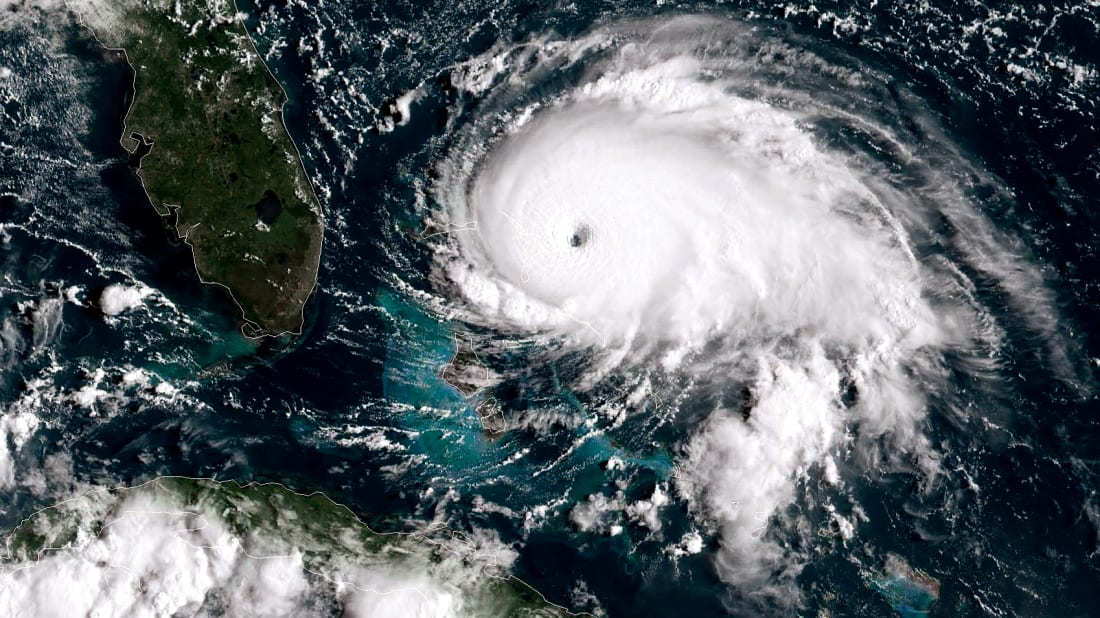 Satellite photo of Hurricane Dorian, a Category 5 storm, tracks toward the Florida coast on September 1, 2019.