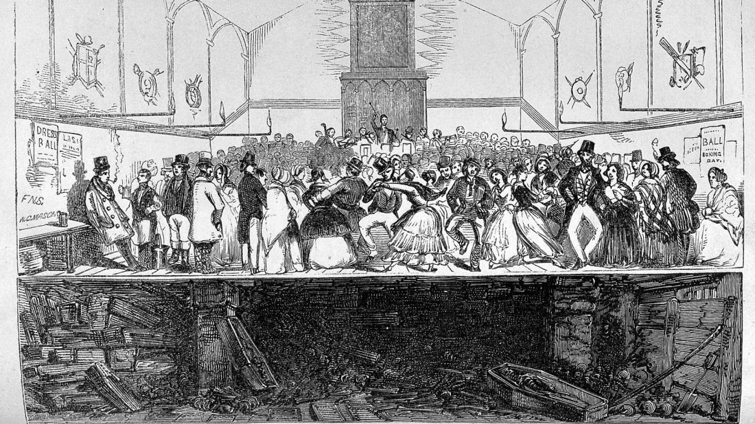 """A drawing of dancing at Enon Chapel from George Walker's """"Lectures on the metropolitan grave-yards"""""""