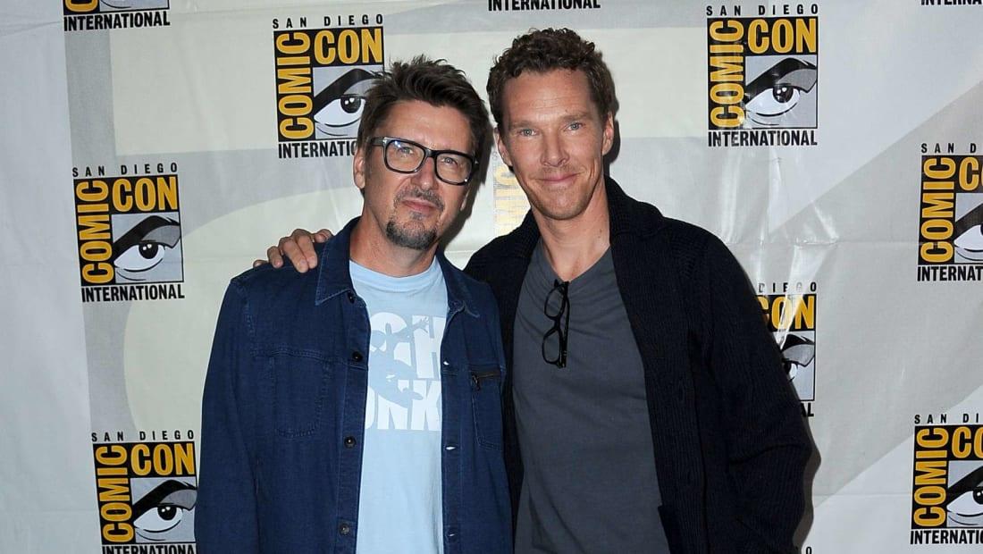 Scott Derrickson and Benedict Cumberbatch attend the Marvel Studios Panel during 2019 Comic-Con International.