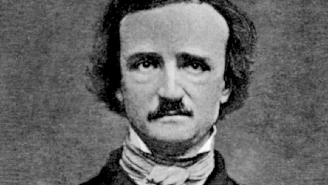 Edgar Allan Poe is depicted in an engraved portrait, circa 1845.