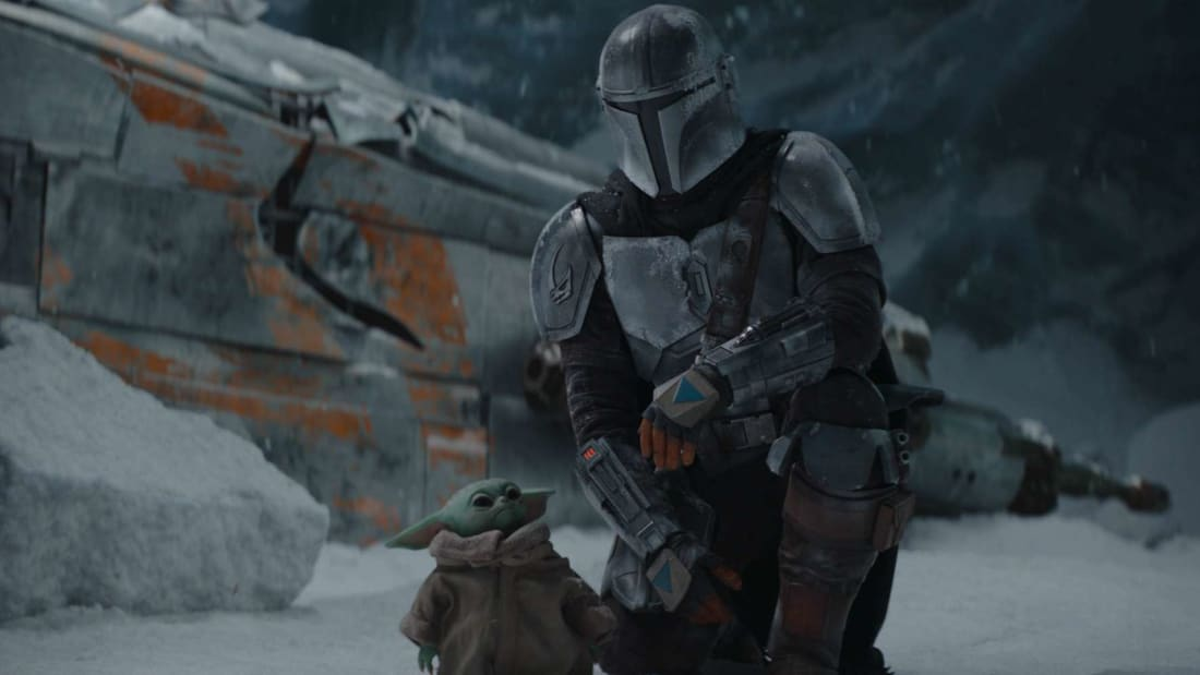 Din Djarin (Pedro Pascal) and the Child in season 2 of The Mandalorian.