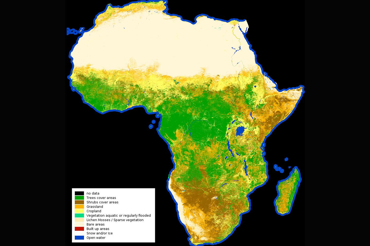 Map Of Africa From Space.European Space Agency Releases First High Res Land Cover Map Of