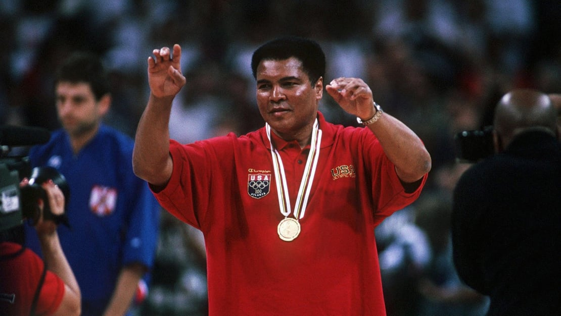 Muhammad Ali with a gold medal at the 1996 Olympic Games.