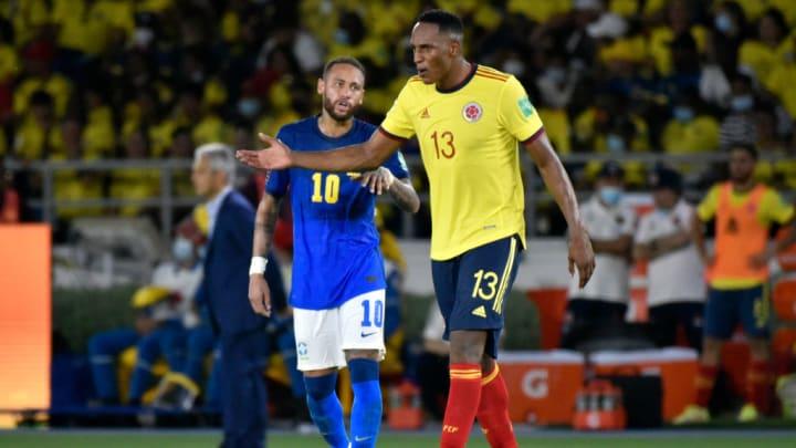 Neymar Yerry Mina Brasil Colômbia Uruguai Eliminatórias Copa do Mundo