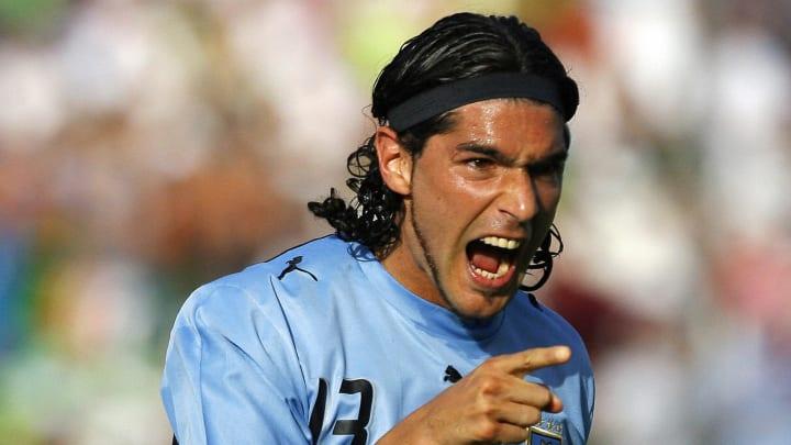 Uruguay's Sebastian Abreu celebrates his ...
