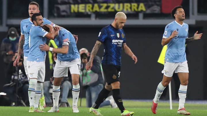 Federico Dimarco trudges across the pitch during Inter's weary 3-1 loss away to Lazio on Saturday evening