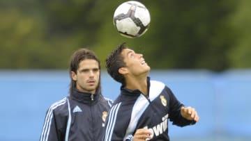 Gago junto  a Cristiano Ronaldo en un entrenamiento del Real Madrdid