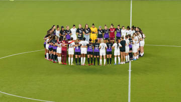 Demonstrations during NJ/NY Gotham City FC v Orlando Pride in support for NWSL players