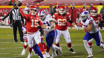 Chiefs QB Patrick Mahomes (15) throws a pass against the Buffalo Bills during the second quarter in the AFC Championship Game on Jan. 24, 2021.