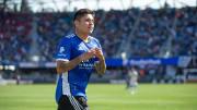 El jugador Javier 'Chofis' López celebra un gol con el San José Earthquakes.