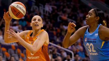 Jun 8, 2018; Phoenix, AZ; Phoenix Mercury guard Diana Taurasi drives to the basket.