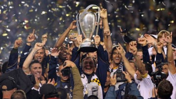 Los Angeles Galaxy lifting the 2011 MLS Cup